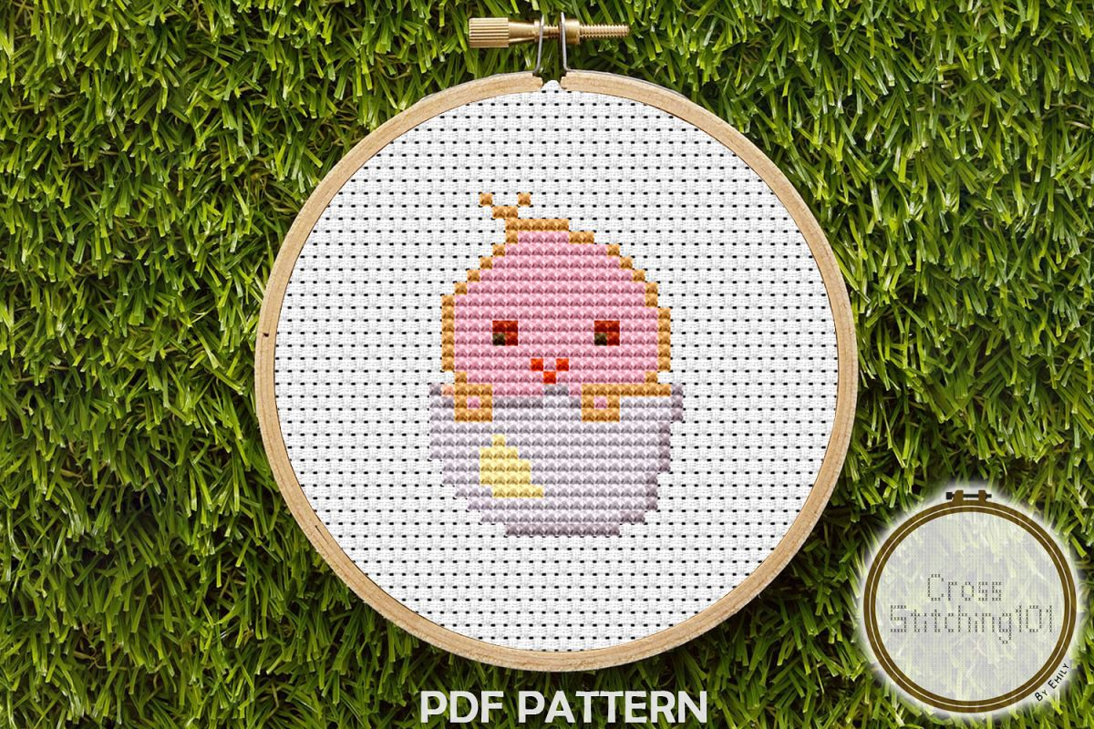 Chick in Egg Cross Stitch Pattern - Instant Download PDF example image 1