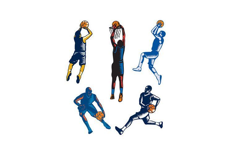 Basketball Woodcut Collection example image 1