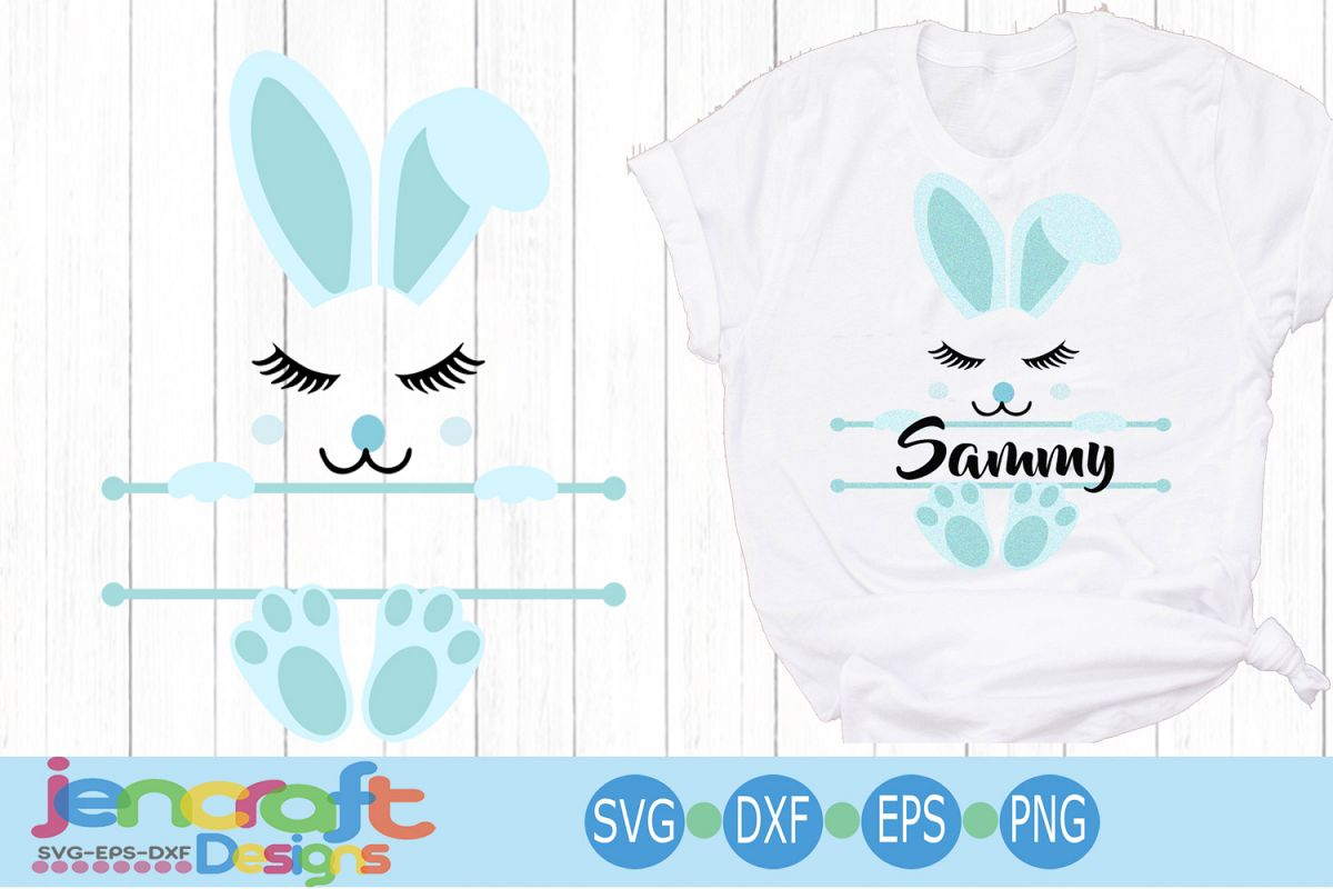 Boy Easter Bunny Ears Face Svg, Split Monogram Svg example image 1