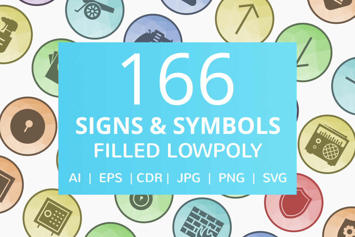 166 Signs & Symbols Filled Low Poly Icons example image 1