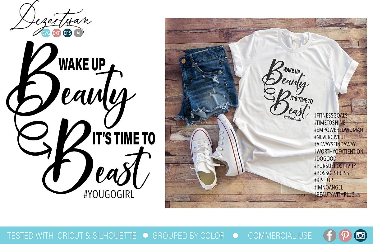 Wake up Beauty it's time to beast SVG example image 1
