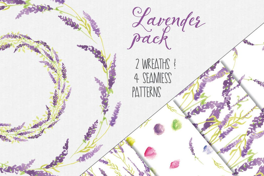 Watercolor clip art in Lavender example image 1