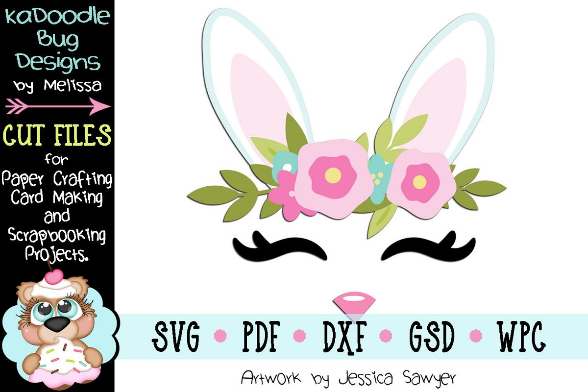 Easter Spring Bunny Face Cut File - SVG PDF DXF GSD WPC example image 1