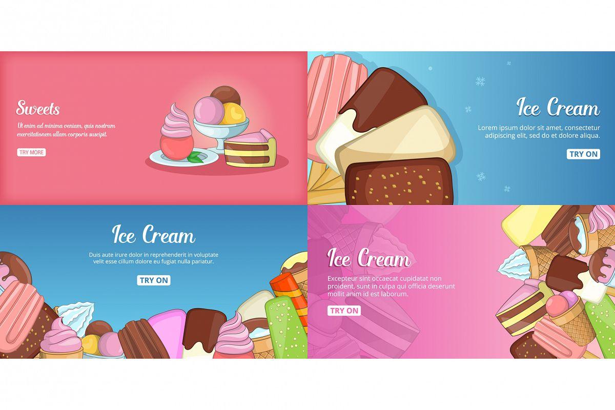 Ice Cream banner set template, cartoon style example image 1