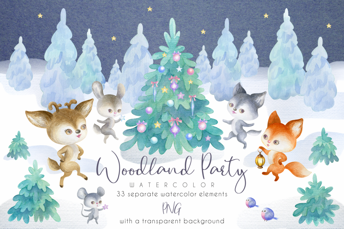 Woodland party. Watercolor Christmas set example image 1