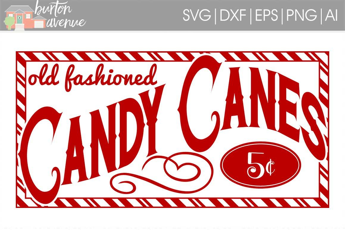 Old Fashioned Candy Canes for Sale Christmas SVG File