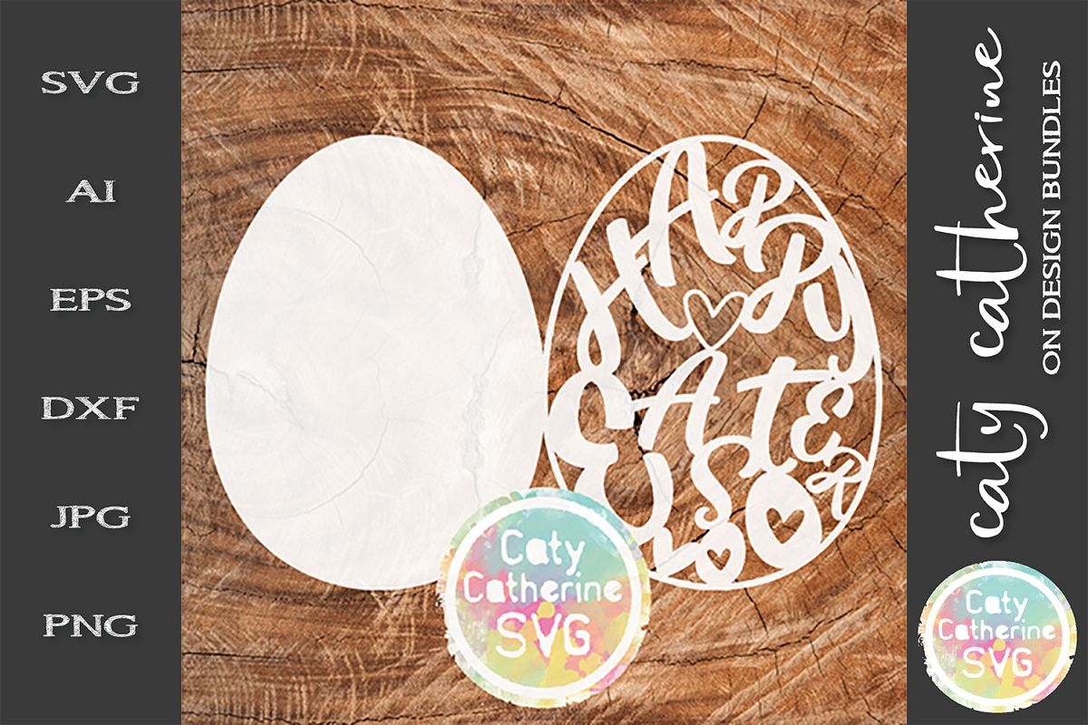 Hoppy Easter Egg Card Template SVG Cut File example image 1