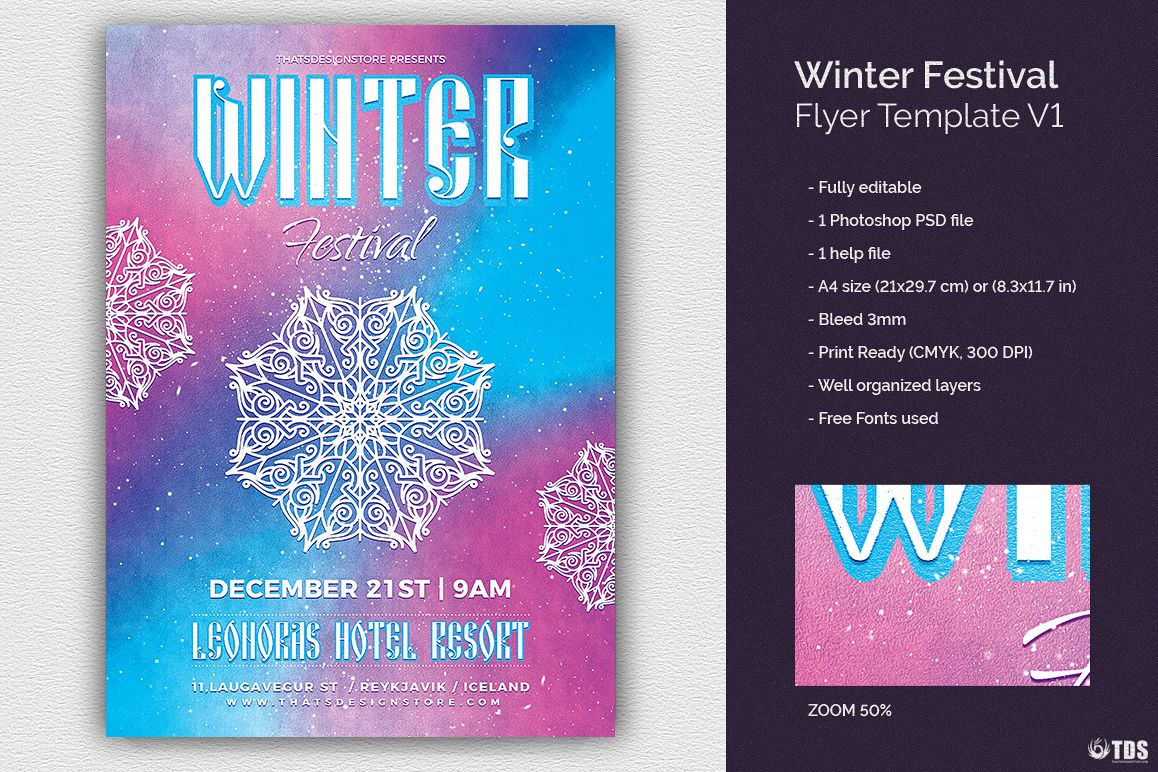Winter Festival Flyer Template V1 example image 1