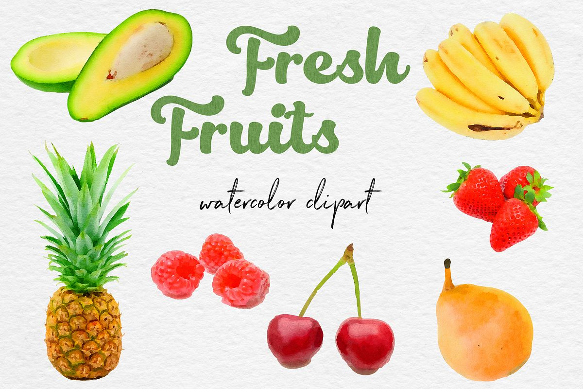 Watercolor Fruits Clipart, Fresh Fruit Clipart example image 1