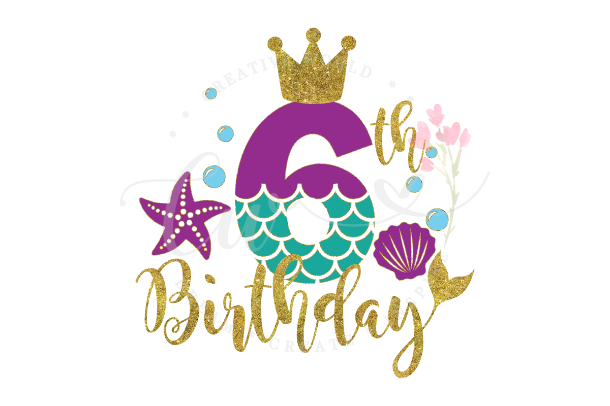 My 6th Birthday Mermaid SVG | Mermaid SVG | Mermaid Birthday example image 1