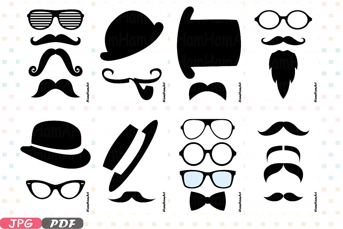 Props black Mustache retro party photo booth gentleman 2p