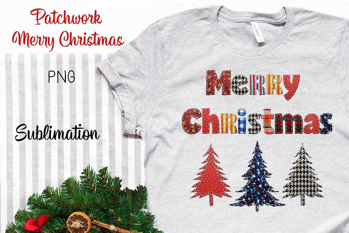 Patchwork Merry Christmas Sublimation example image 1