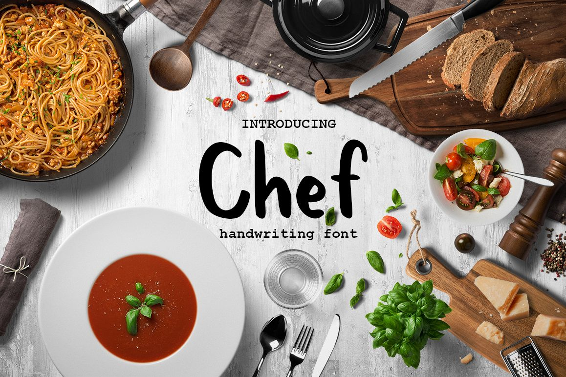 Chef handwritten brush font example image 1