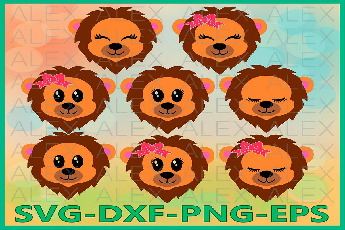 Lion Svg Files, Lion face svg, Lion Eyelashes, Safari svg example image 1