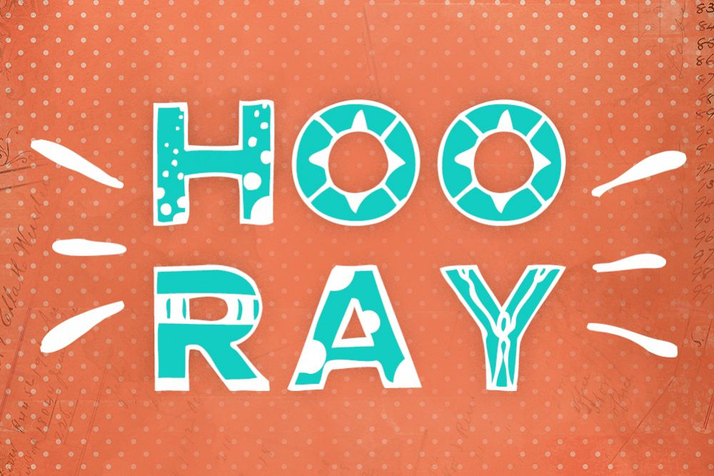Hooray! Hand drawn font example image 1