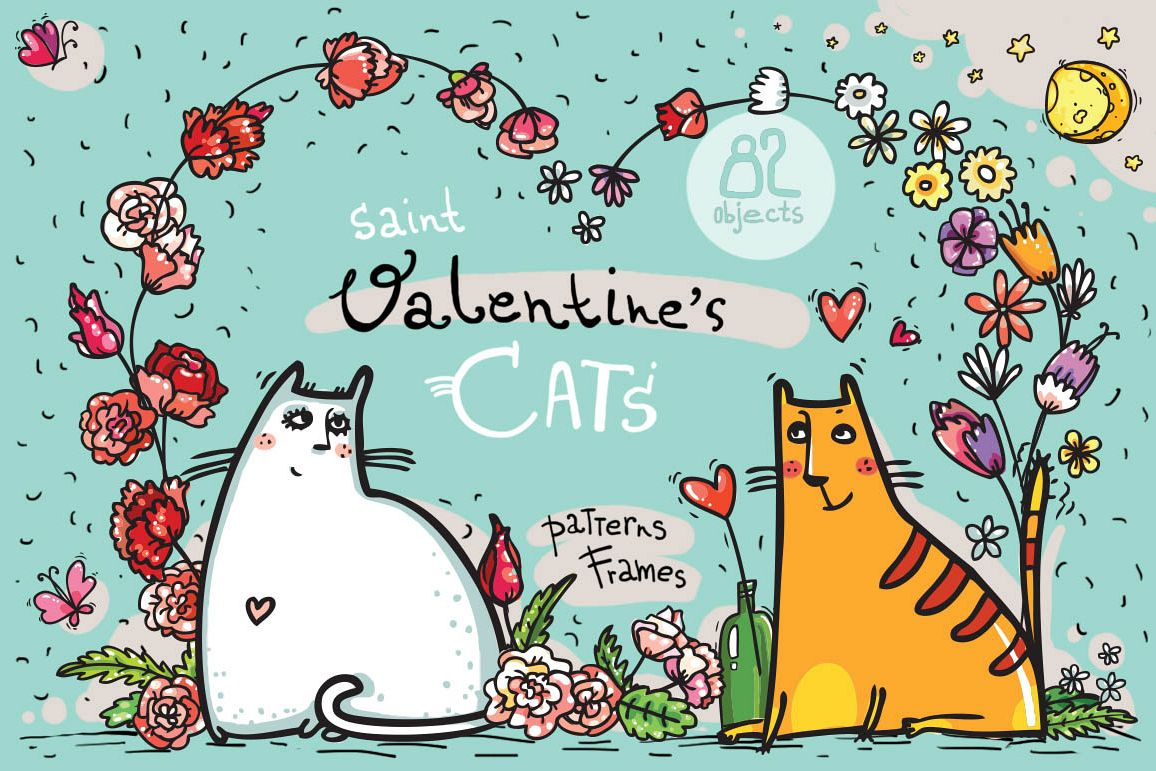 Saint Valentine's Cats - patterns, frames example image 1