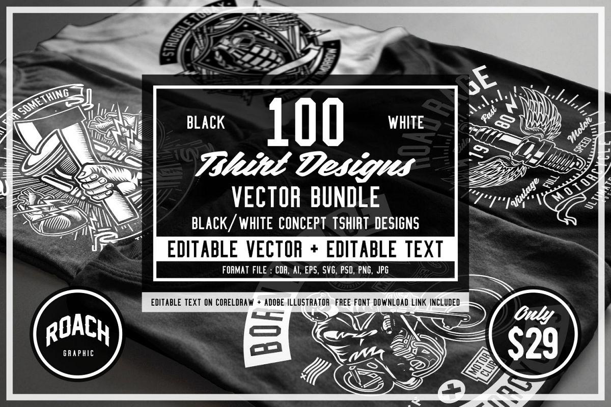100  Vector Tshirt Designs ( B/W Concept ) Free Download