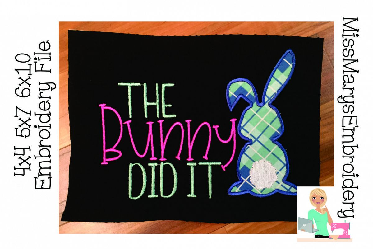 The Bunny Did It Applique Embroidery example image 1