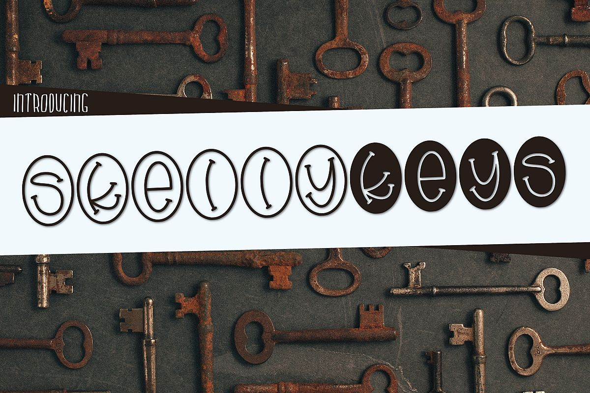 Skelly Keys a fun Oval Font example image 1
