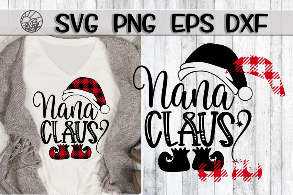 Nana Claus . Buffalo Plaid - SVG PNG EPS DXF example image 1