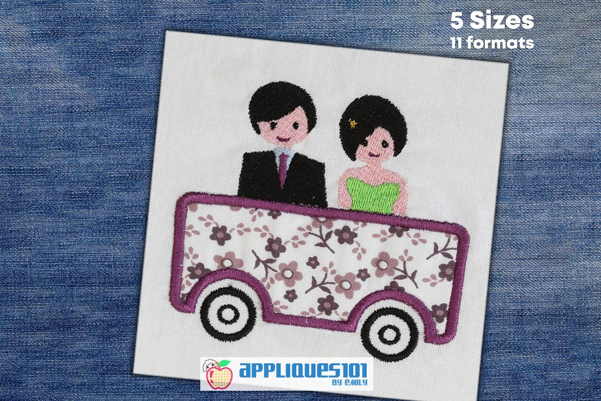 Couple In Car Machine Embroidery Applique Design - Couples example image 1