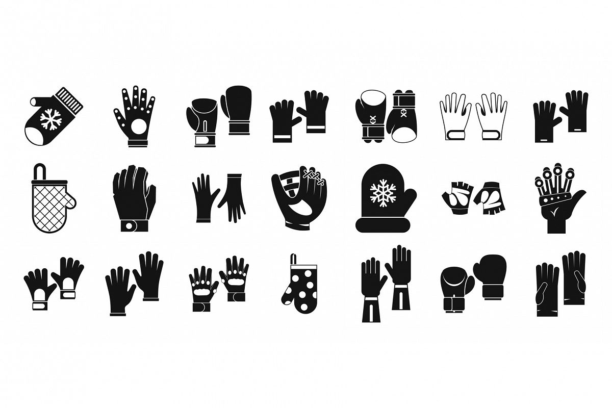 Gloves icon set, simple style example image 1