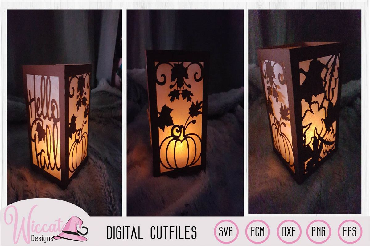 Happy fall lantern template, pumpkin and leaves, paper craft example image 1