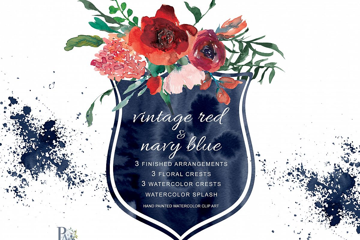 Watercolor Vintage Red Navy Blue Flow Design Bundles