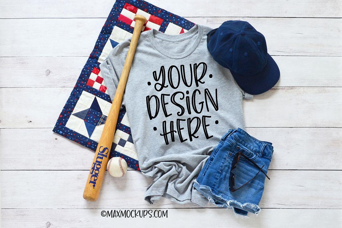 Gray t-shirt Mockup Bella Canvas, baseball hat ball bat example image 1