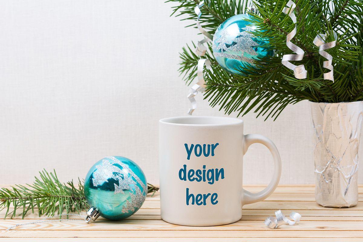 Coffee Christmas Ornaments.White Coffee Mug Mockup With Blue Christmas Ornaments