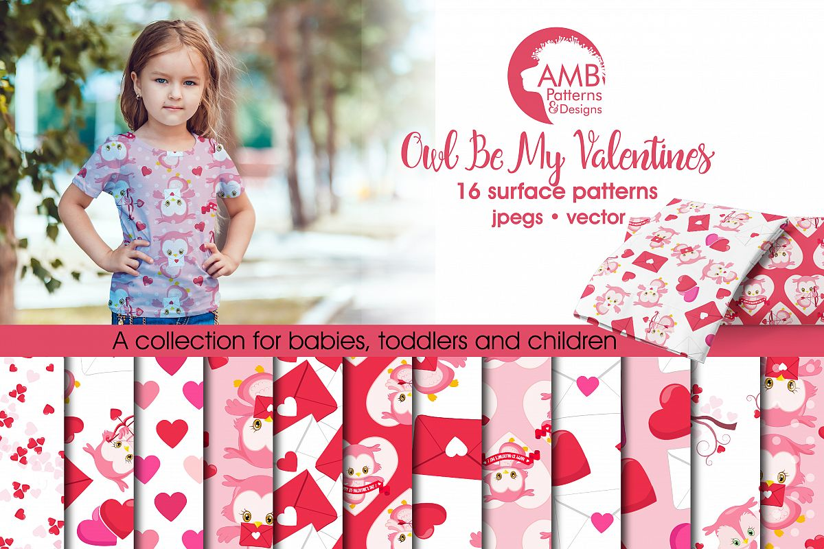 Valentine Digital Papers, Heart Digital Papers, Valentines Day Papers, Commercial Use, Scrapbook, Backgrounds, AMB-1181 example image 1