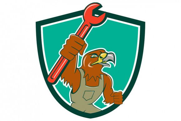 Hawk Mechanic Pipe Spanner Crest Cartoon example image 1