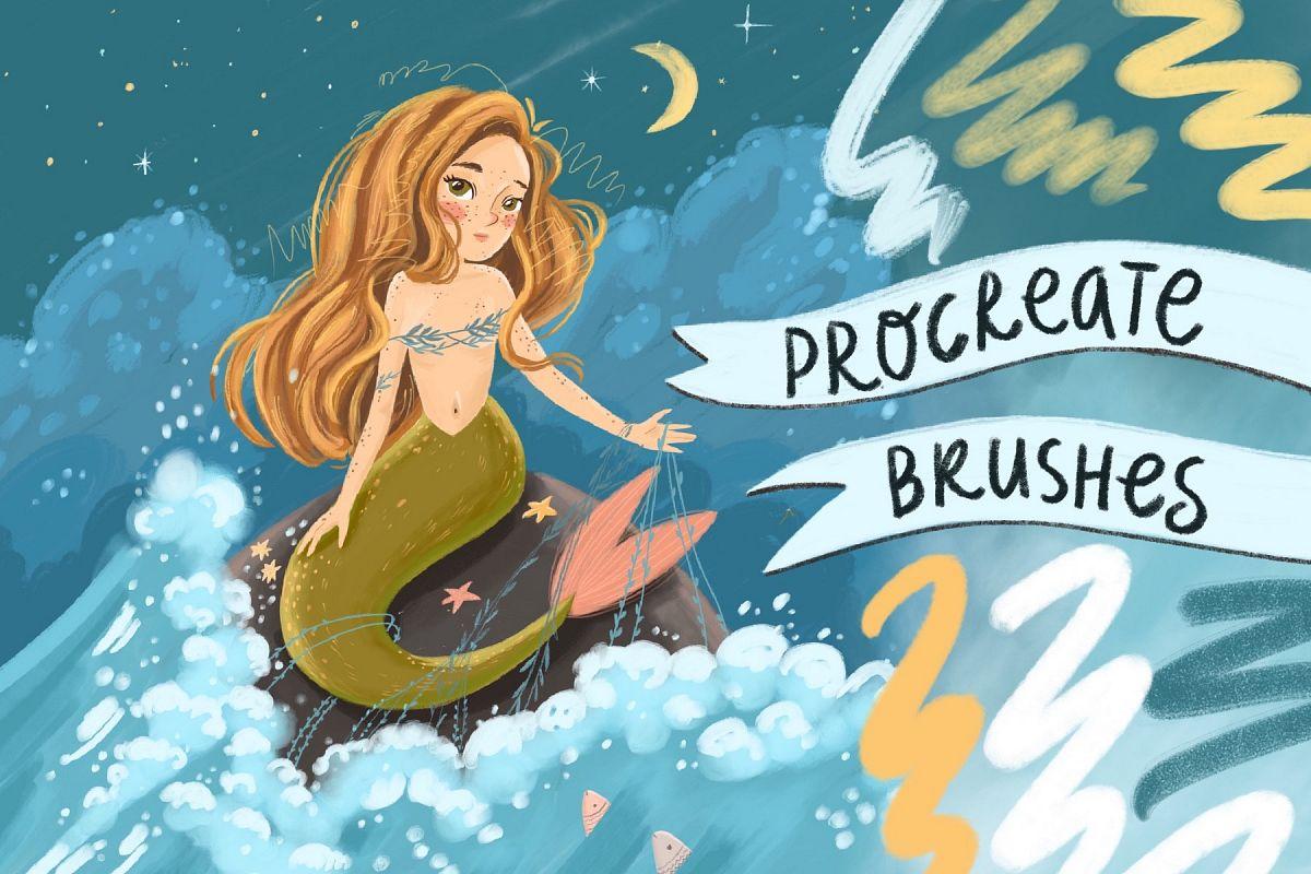 Brushes procreate. Texture paints example image 1