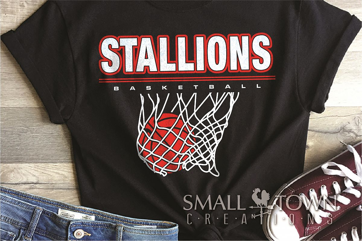 Stallion, basketball, Team, logo, PRINT, CUT & DESIGN example image 1