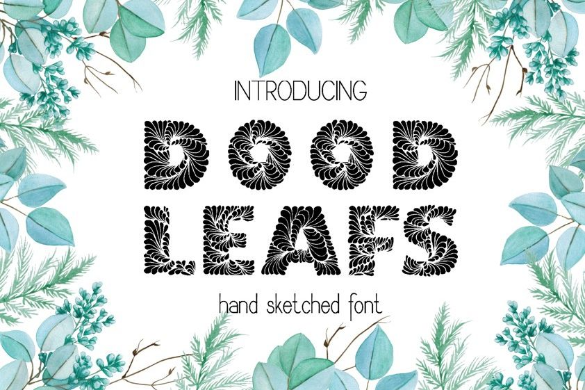 Doodleaf hand drawn decorative font example image 1