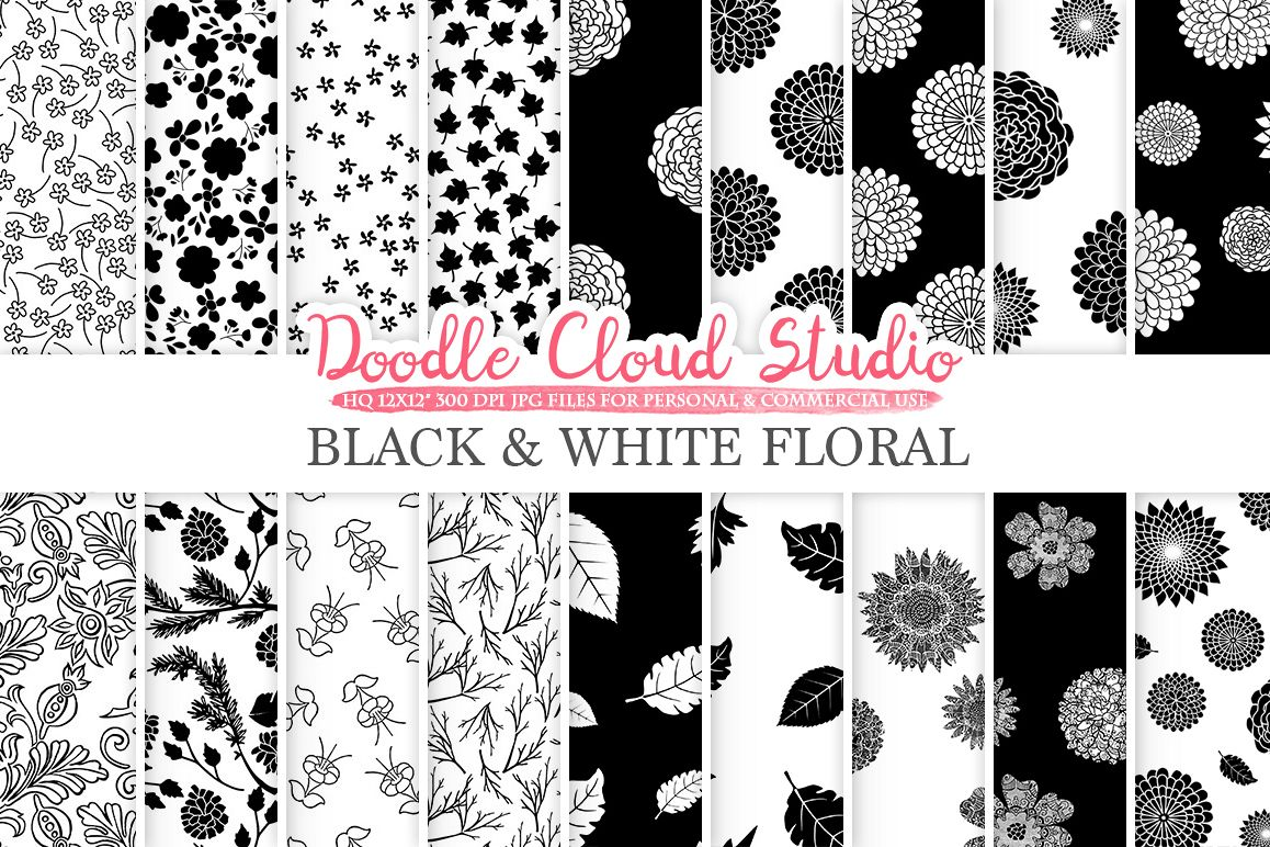 Black And White Floral Digital Paper Floral Pattern Flowers Dhalia