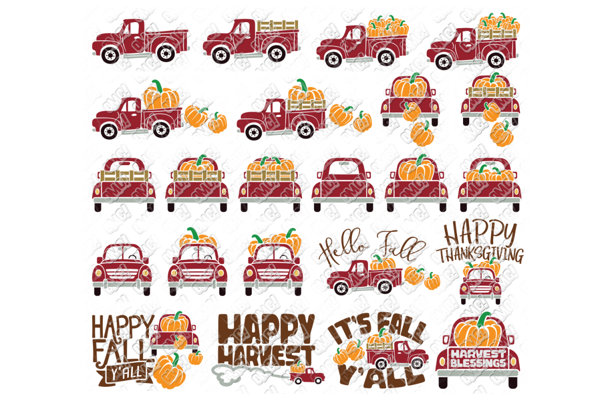 Vintage Pumpkin Truck Fall in SVG, DXF, PNG, EPS, JPEG example image 1