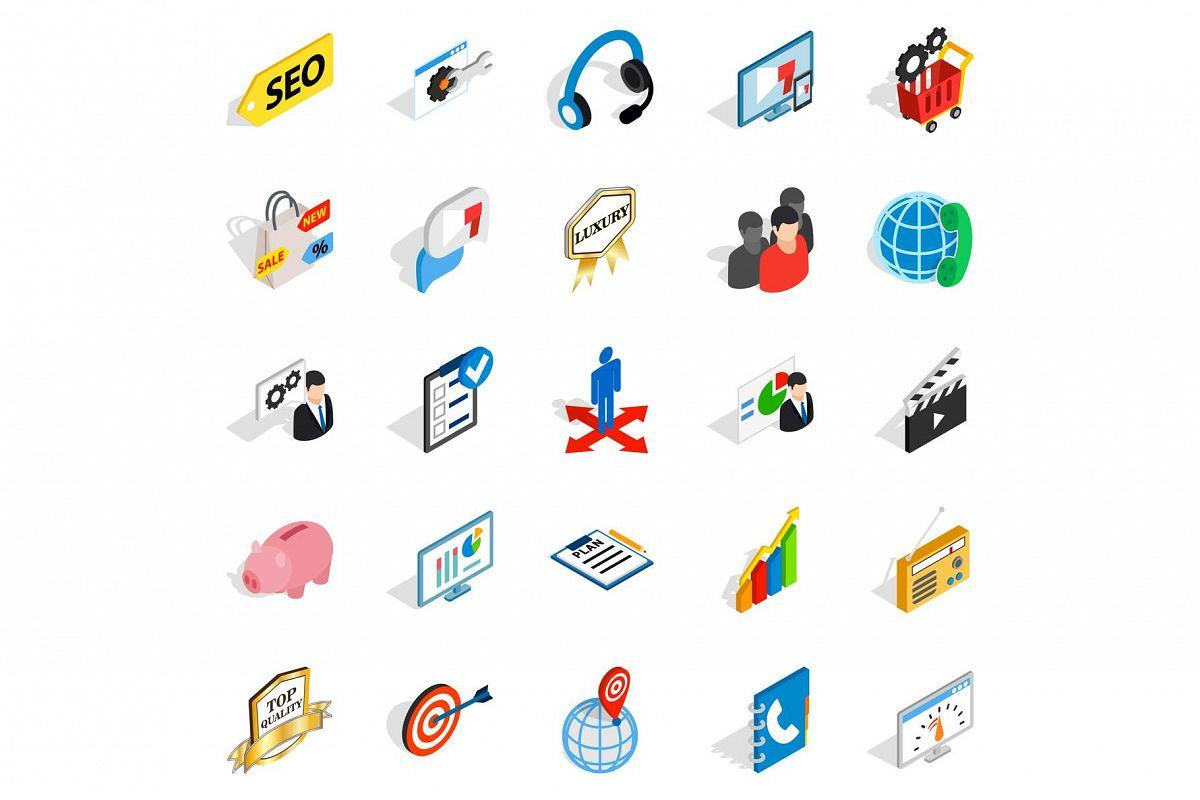 Phone call icons set, isometric style example image 1