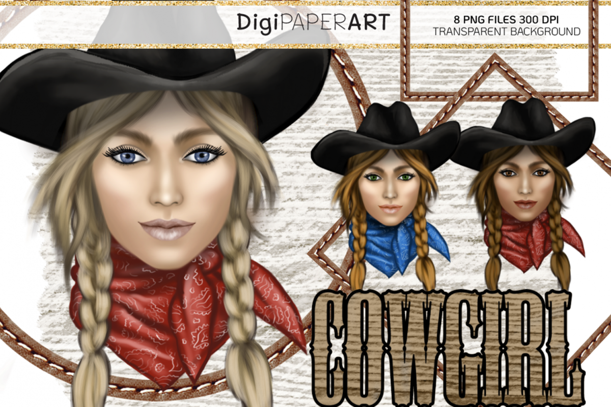 Cowgirl Face PNG, Western Clip Art, Wild West PNG example image 1