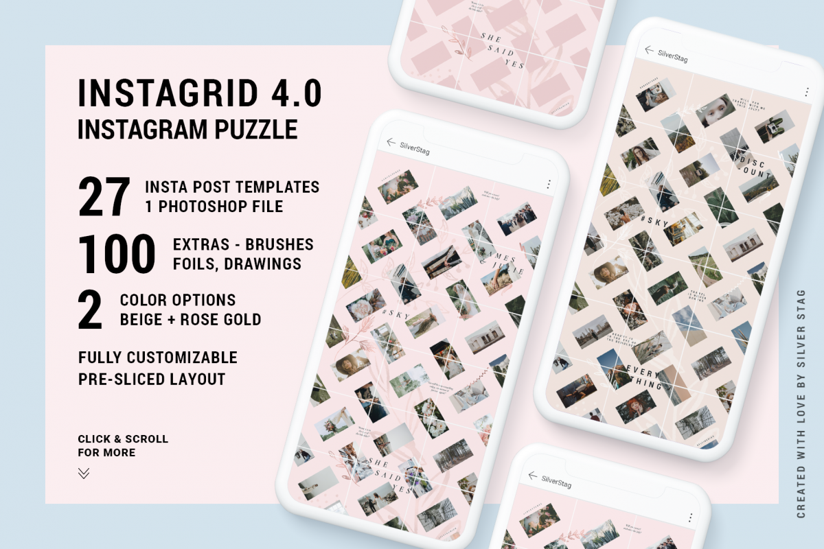 InstaGrid 4 0 - Instagram Puzzle Template - Grid Template