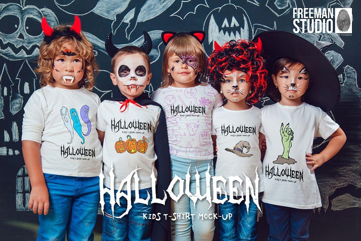 Halloween Kids T-Shirt Mock-Up example image 1