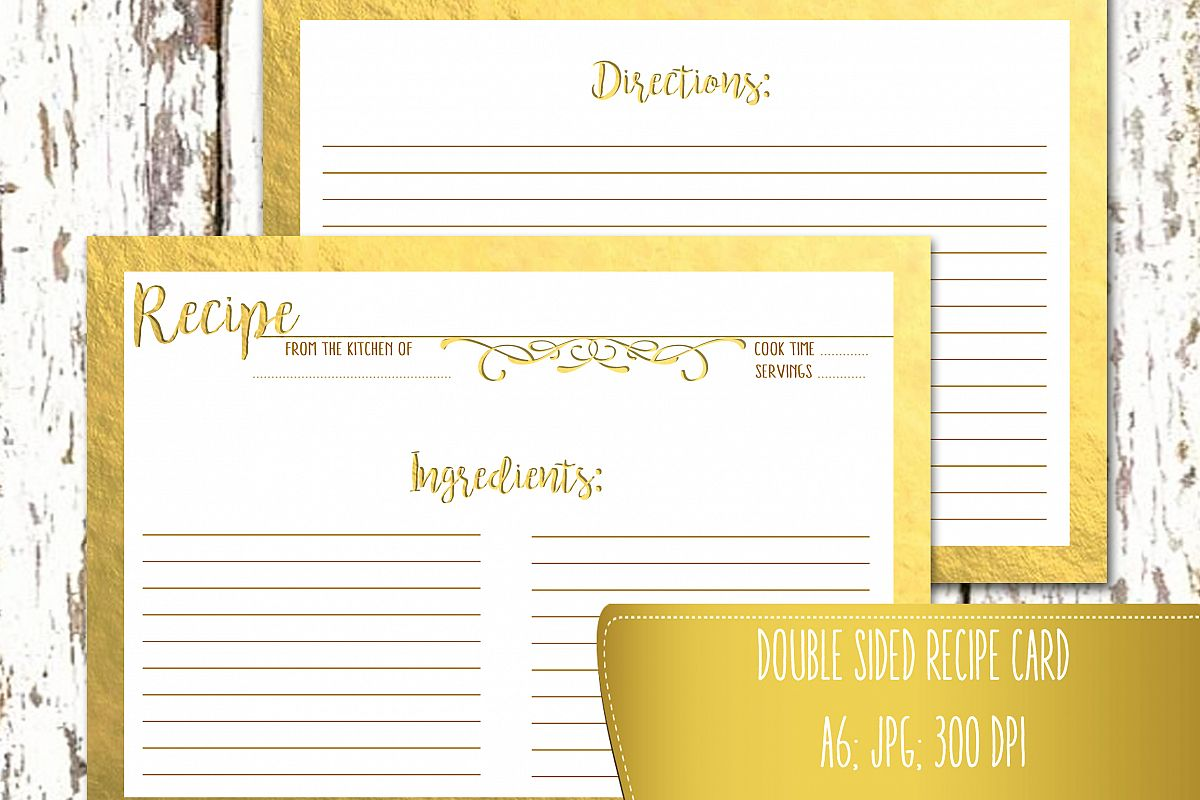 graphic regarding Printable Gold Paper named Recipe Card Double Sided A6 Printable Recipe Card Gold Foil Kitchen area Calligraphy JPG Higher High quality 300 DPI A6 - 4.1 x 5.8