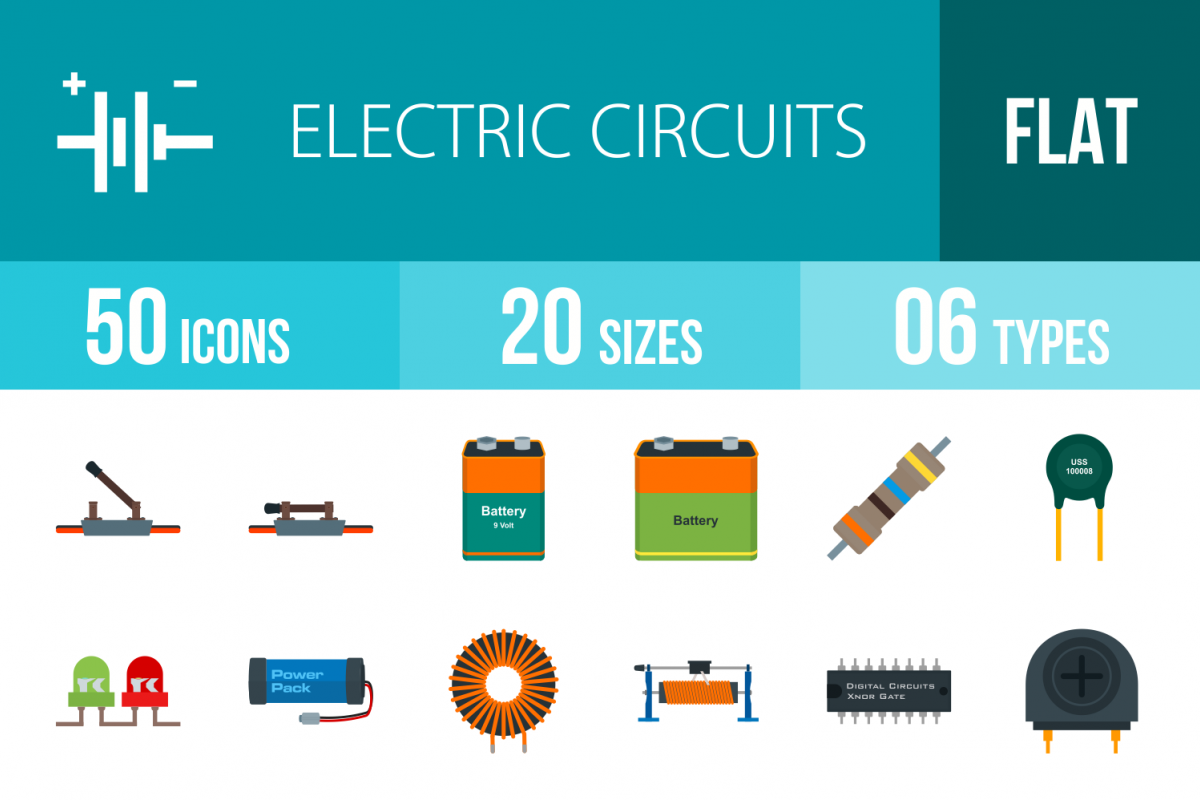 50 Electric Circuits Flat Multicolor Icons Different Types Of Example Image 1