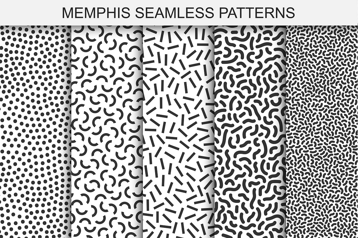 Memphis seamless patterns. Swatches example image 1