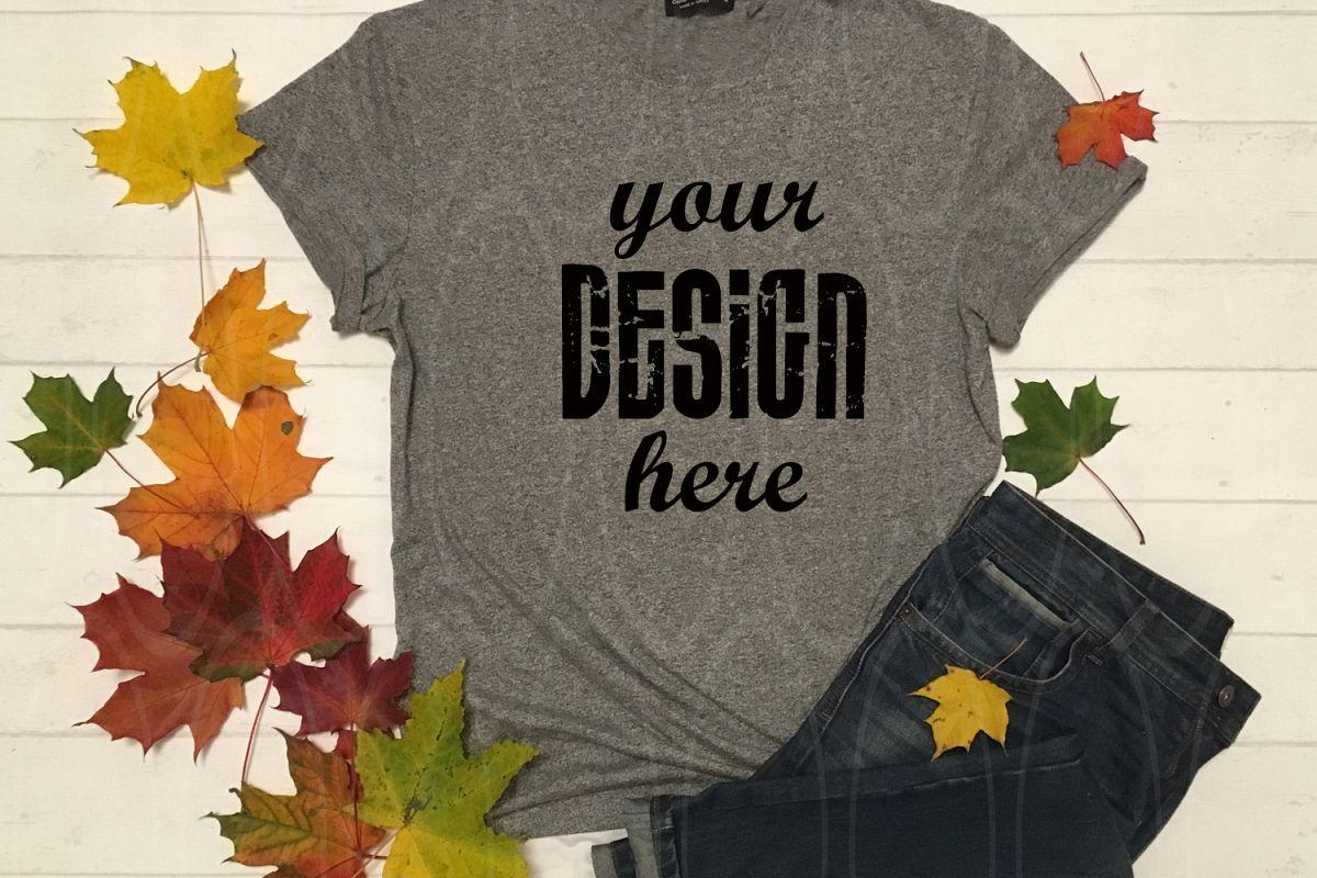 Unisex FLAT LAY T-Shirt Mockup Dark Gray shirt mock up example image 1