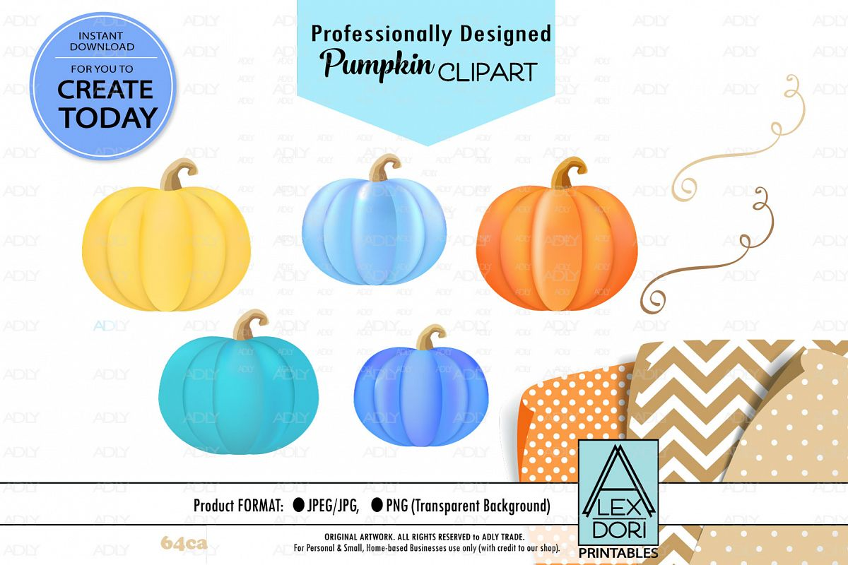 Pumpkins in different colors for projects, Halloween, Autumn example image 1