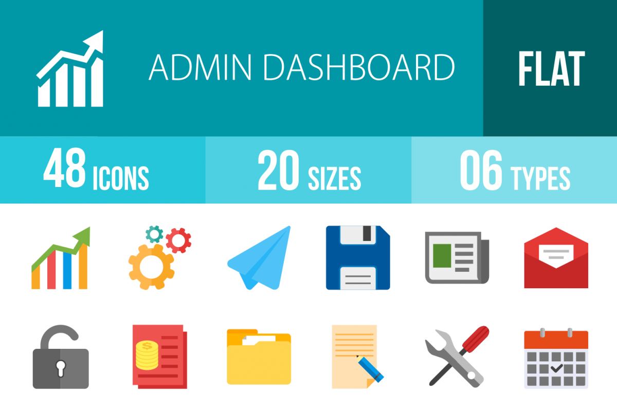 48 Admin Dashboard Flat Multicolor Icons example image 1