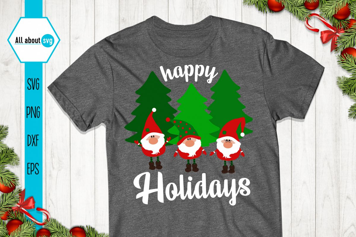 Happy Holidays Svg, Gnome Svg example image 1