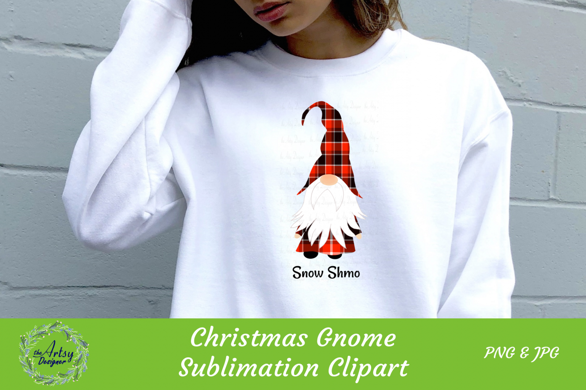 Christmas Gnome Buffalo Plaid Sublimation ClipArt Snow Shmo example image 1