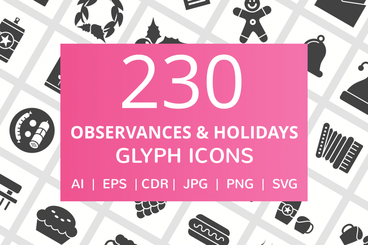230 Observances & Holiday Glyph Icons example image 1